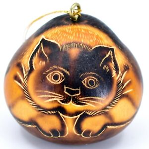 Handcrafted-Carved-Gourd-Art-Short-Hair-Cat-Kitten-Kitty-Ornament-Made-in-Peru