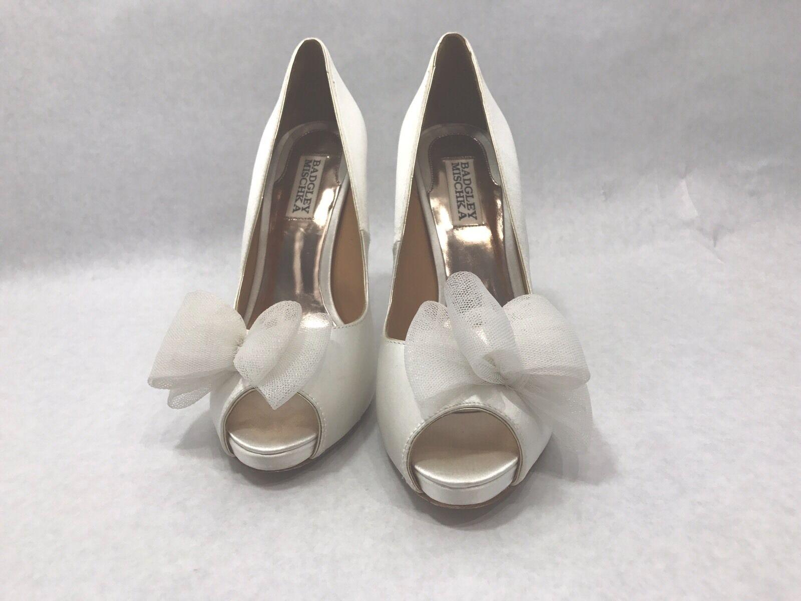 Badgley Mischka Satin Wedding Shoes  Ivory Bow Peep Size Toe Size Peep 8M 0a5451
