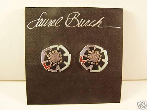 Laurel Burch Silver Black Teal Floral Flower Design Post Earring Signed Vintage