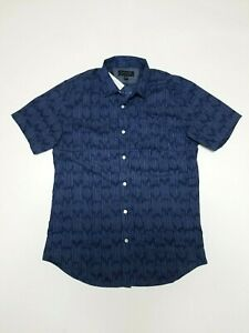 New-Banana-Republic-Striped-Blue-Short-Sleeve-Shirt-Slim-Fit-Sz-M-MEDIUM
