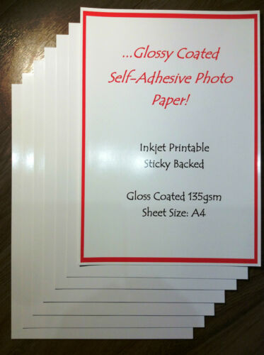 A4 GLOSS SELF ADHESIVE PAPER INKJET PRINTABLE GLOSSY STICKYBACK 135gsm 50 SHEETS
