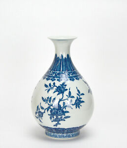 FINE-CHINESE-QING-YONGZHENG-MK-BLUE-AND-WHITE-PEAR-BODY-PORCRLAIN-VASE