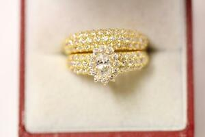 91622ct sparkling indian gold size J engagementwedding ring set