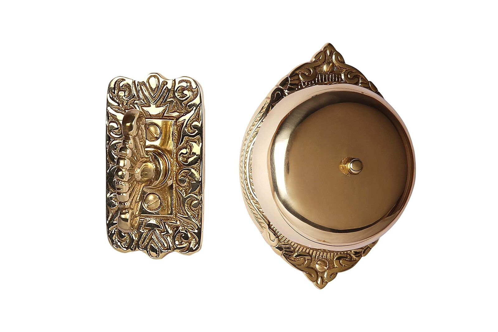 A29 Victorian Twist Hand Turn Doorbell, Handmade, Polished Lacquered Brass