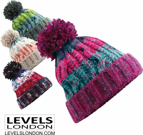 boys bobble hat stocking filler winter school woolly cable knit knitted Ski 486b