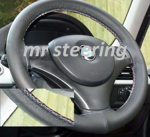 FOR BMW Z3 1995-2002 BLACK ITALIAN LEATHER STEERING WHEEL COVER M TECH STITCHING