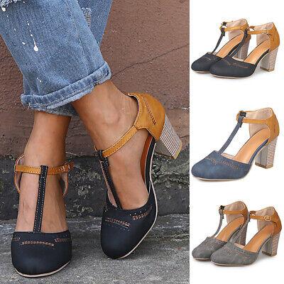 Women/'s Block Heel Open Toe Sandals Casual Ankle Strap Flats Shoes Size 5.5-9