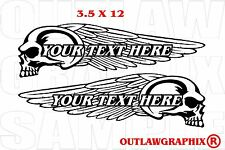 PERSONALIZED SKULL-WINGS DECAL SET FOR YOUR HARLEY OR OTHER-CHOOSE COLOR & TEXT