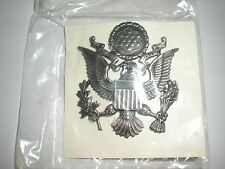 USAF OFFICER SERVICE CAP BADGE - OBSOLETE SILVER OXIDIZED - MINT ON CARD!