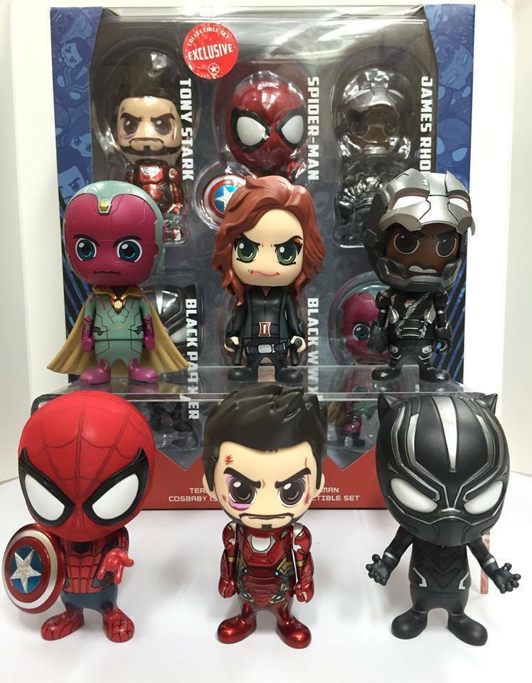 Hot Toys Civil War Iron man  Team Cosbaby 6pcs set ( spiderman tony widow vision