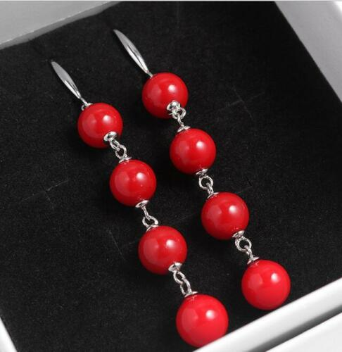 Pretty 8mm Genuine Coral Red Sea Shell Pearl Silver Hook Dangle Earrings by Unbranded