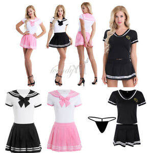 Womens-Cheerleader-Outfit-Uniform-Ladies-School-Girl-Student-Costume-Fancy-Dress