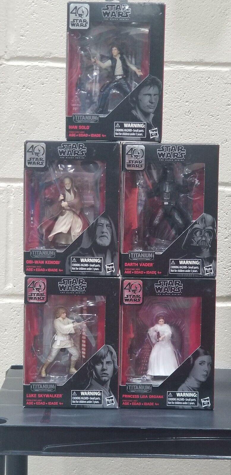 Star Wars Titanium Black 40th Anniversary Darth Vader, Luke, Han, Obi-wan, leia