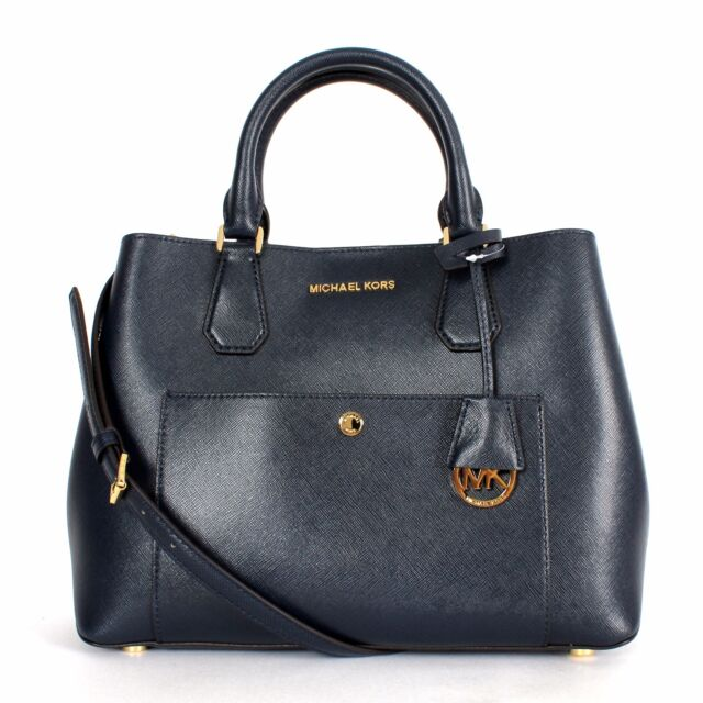 b0d9b87b6212 Auth Michael Kors Greenwich Large Leather Tote Navy 30s5ggrt3u for ...