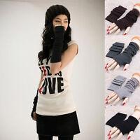 Fashion Women Knitted Fingerless Winter Gloves Unisex Soft Warm Mitten