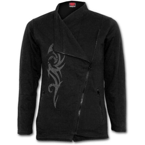 Spiral Direct STAINED TRIBAL Slant Zip Women Biker Jacket Fashion//Metal//Ladies