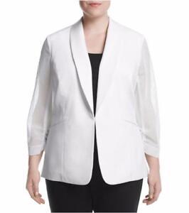 Bianco Nwt 22w 782418595773 Sleeve Size 129 West® Plus Jacket Nine Mesh Avorio zxBXW