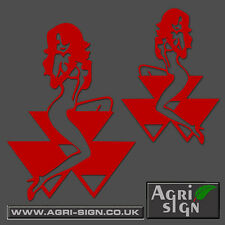 Massey Ferguson Tractor Decal Funny Girl on Logo Sticker x 2