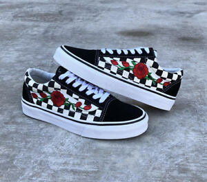 Détails sur Damier Old Skool Rose rouge Broderie Vans Custom Baskets- afficher le titre d'origine