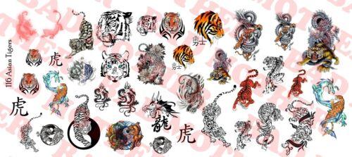 1//6 Scale Custom Tattoos Waterslide Decals Asian Tigers variety pack