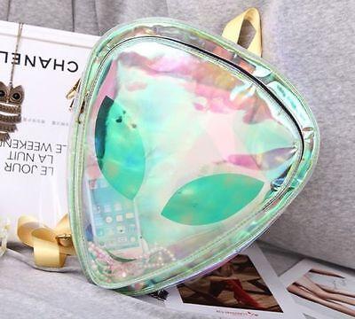 Designer Transparent Backpack Women Clear PVC Bag With Aliens Smile Face #j97