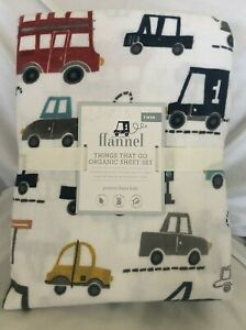 Pottery-Barn-Kids-Things-That-Go-Flannel-Sheet-Set-Twin-NWT