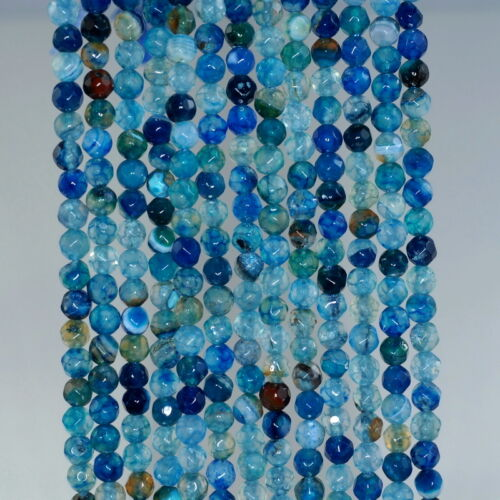 """4MM FIREWORKS CRACKLE AGATE GEMSTONE LIGHT BLUE FACETED ROUND LOOSE BEADS 15/"""""""