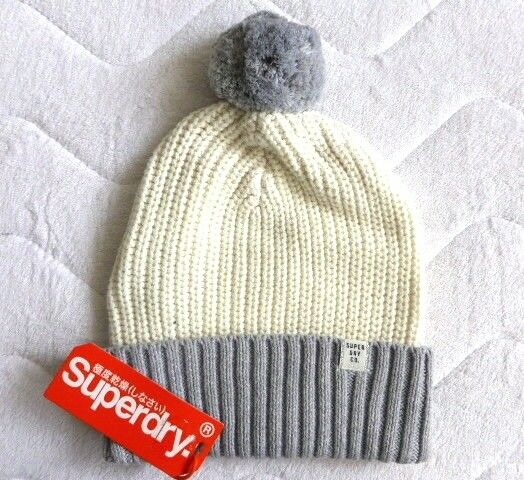 Womens SUPERDRY Cream   Icey Grey Chunky Knit Bobble Hat Beanie Toque STIFF POM