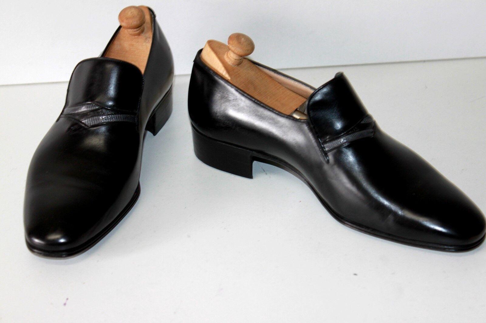 ti renderà soddisfatto BELTRAMI Mocassins Vintage Cuir Lisse nero T 7 7 7   40.5 FR TTBE  in vendita scontato del 70%