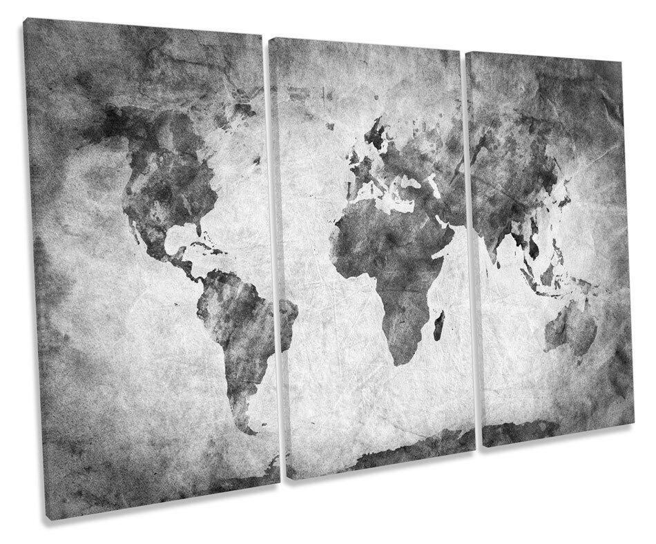 MAPPA del Mondo Nero e Bianco Foto TREBLE TELA Wall Art Print