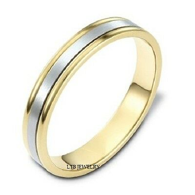 Fine Rings Smart Mens Womens 14k Two Tone Gold Wedding Bands,unisex 4mm Satin Finish Wedding Ring Precious Metal Without Stones
