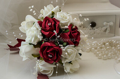 Wedding Flowers Small Bridesmaid Bouquet in Red and Ivory Crystals & pearls Etc