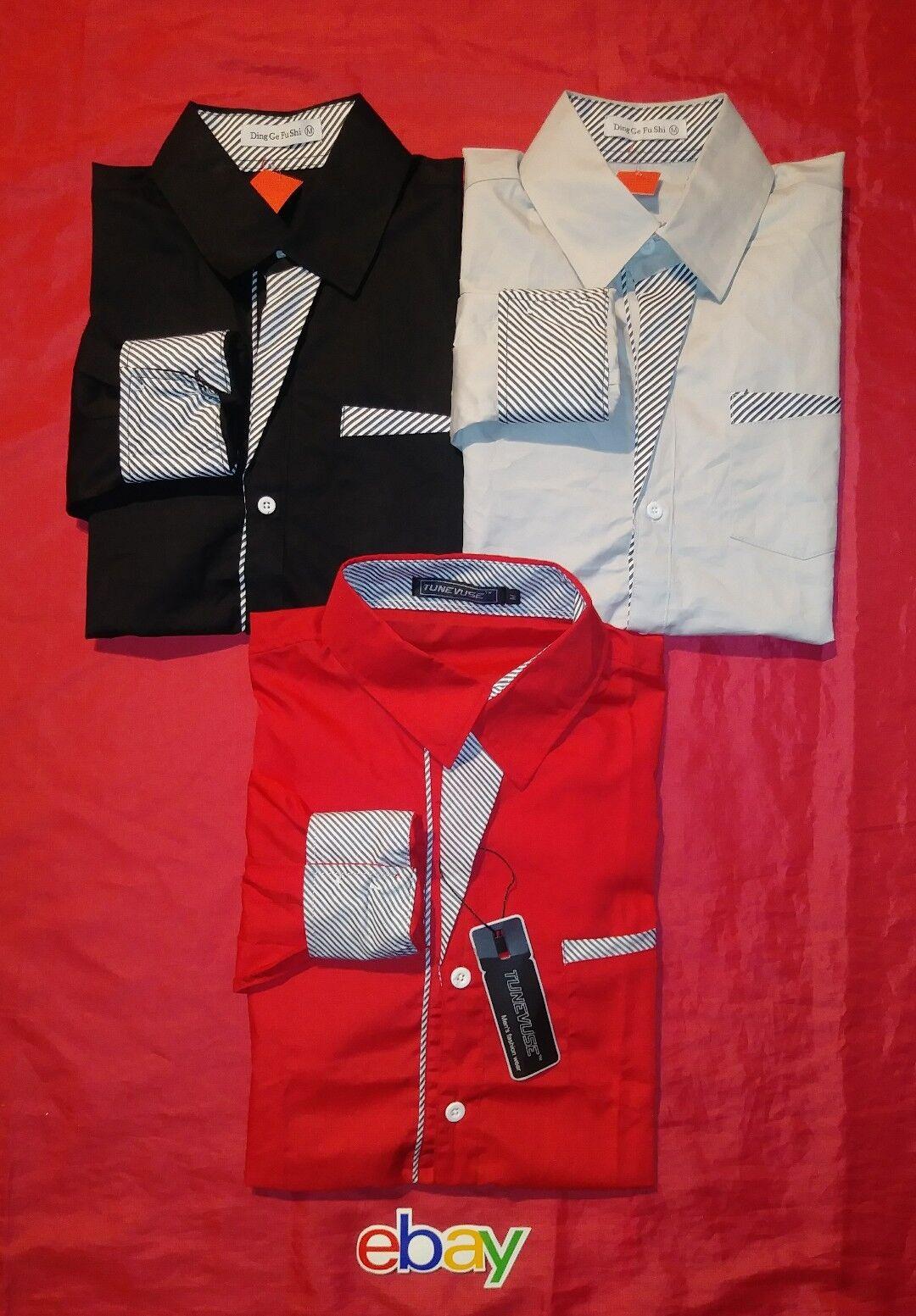 3 PC LOT Men DING GE FU SHI TUNEVUSE BUTTON UP Shirts Korean SZ M EXTRA Slim Fit