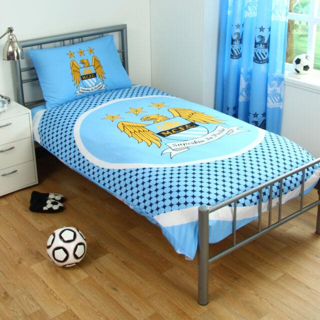 Manchester Man City FC Blue Football Reversible Duvet Quilt Cover Bedding Set