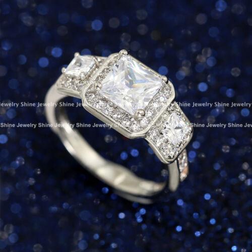 18K GOLD GF 3-Stone TRILOGY DIAMONDS ROYAL ENGAGEMENT WEDDING ETERNITY BAND RING