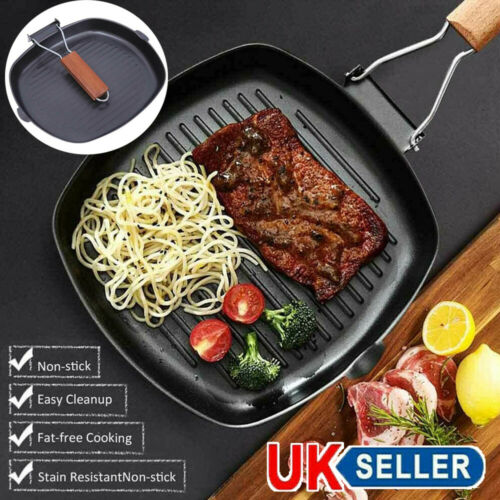Nonstick Grill Griddle Frying Pan Hob Stove Cook BBQ Steak Cooking Meat Fry Pan