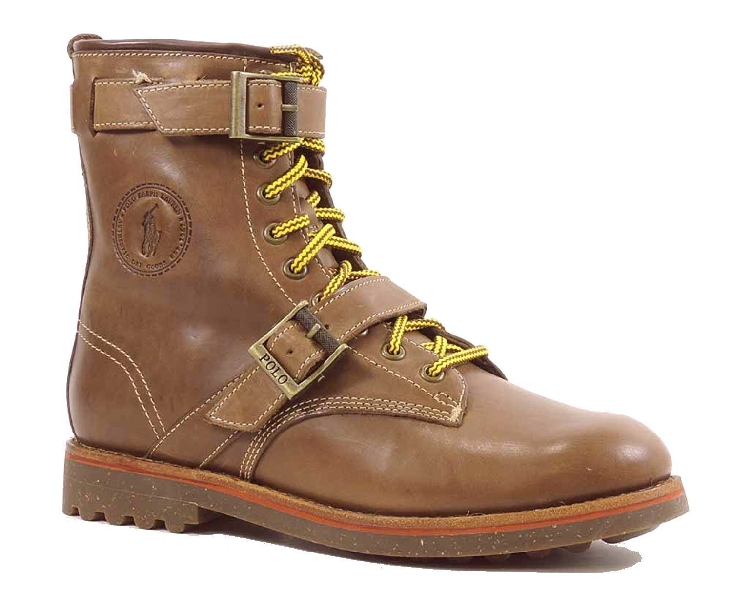 Polo Ralph Lauren Maurice Oiled Leather Boots Buff Brown Orange Leather Shoes