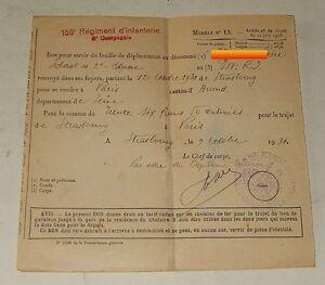BON-pour-servir-de-FEUILLE-de-DEPLACEMENT-158eme-Regiment-d-039-Infanterie-6eme-1931