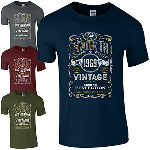 0321e1821 Made in 1969 T-Shirt Born 50th Year Birthday Age Present Vintage ...