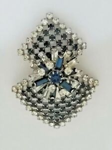 Vintage-Clear-amp-Sapphire-Crystals-Austrian-Brooch-Signed