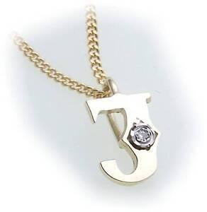 Anhänger u Kette Buchstabe J Dia 0,01 ct echt Gold 333 Diamant Gelbgold