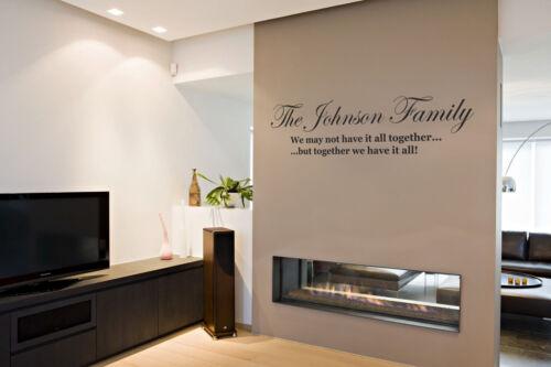 Nombre de la familia juntos hemos su todos pegatinas de pared contemporáneo transferencia