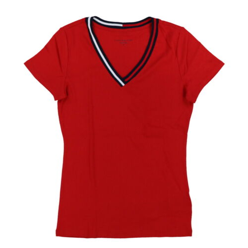 Tommy Hilfiger Womens T-Shirt V-Neck Ribbon Logo Flag Short Sleeve Casual Top