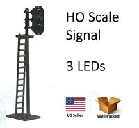 1 Ho Scale Model Train Railroad Signals W/ 3 Leds Lights G/y/r