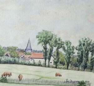 Steeple-Of-Bilhac-Cows-to-Pasture-Landscape-Watercolour-Original-Dated-1945