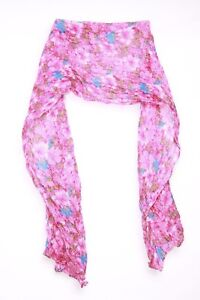s76 Damen-accessoires Schals & Tücher Neue Mode Magenta Green & Blue Floral Crinkled Scarf Perfect For Younger Girl