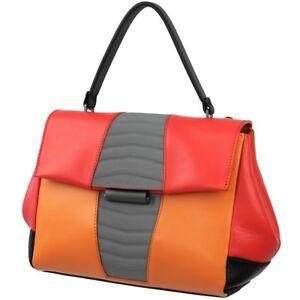 MANDARINA DUCK Damen Tasche Leder Schulter Handtasche Bunt Red Orange Black NEU
