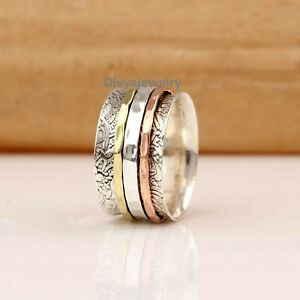 Solid-925-Sterling-Silver-Spinner-Ring-Meditation-Ring-Statement-Ring-Size-RA42