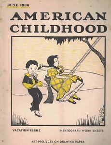 American Childhood Magazine June 1936 Kids Swinging Cover
