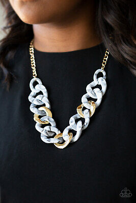 Paparazzi Jewelry Faux Marble Smoky White Acrylic Links